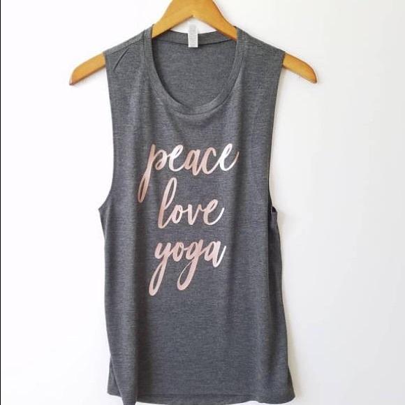 Plum Creek Boutique Tops Yoga Shirt With Sayings Peace Love New Poshmark
